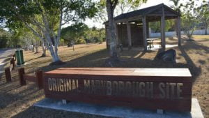 Original Maryborough Site, slab hut style shelter with a picnic table