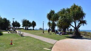 Grass park area, at the Surf Beach on Bribie Island at Woorim