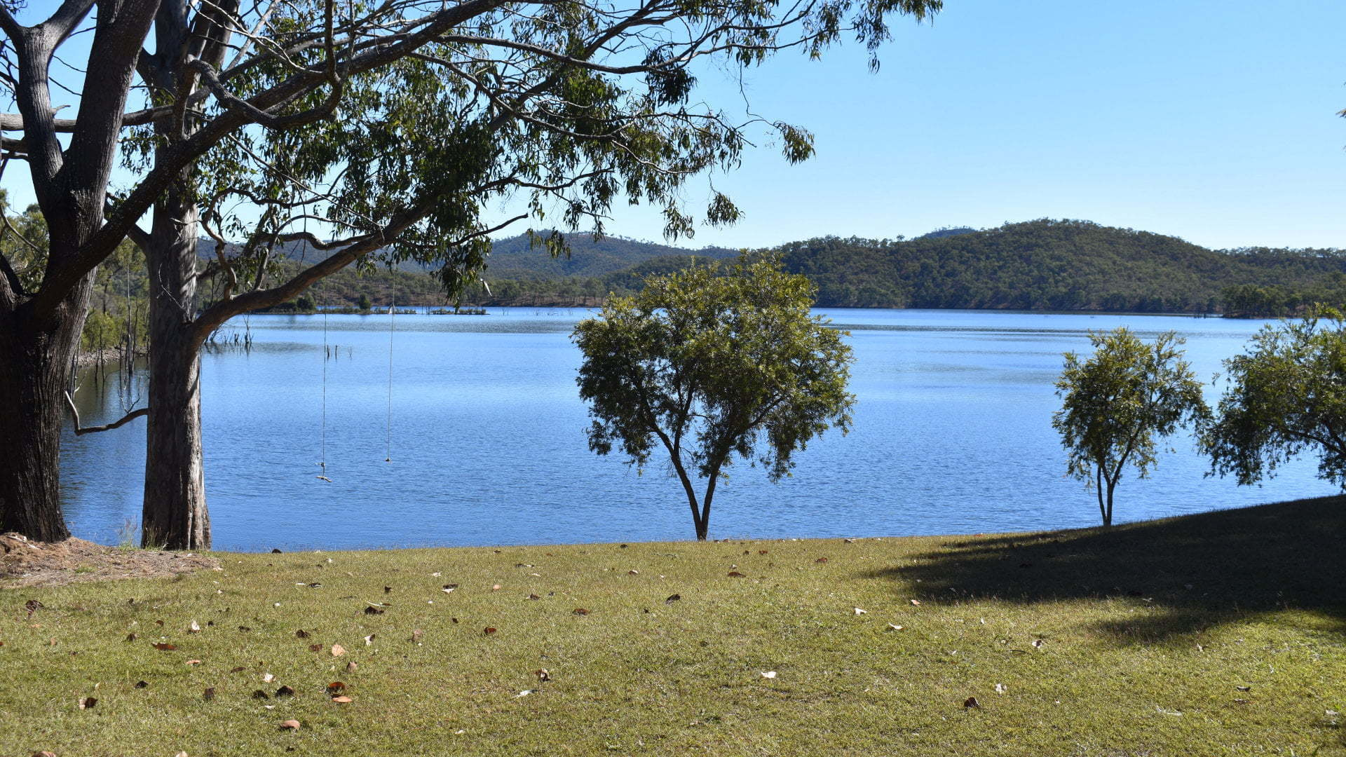 View of the Lake at Cania Dam, located north of Monto the lake is stocked with fish for recreational fishing