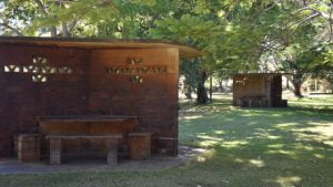 Old style brick picnic table shelter, located at Cania Dam recreational area