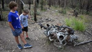 An aircraft engine, from the Beautiful Betsy crash site at Kroombit Tops National Park