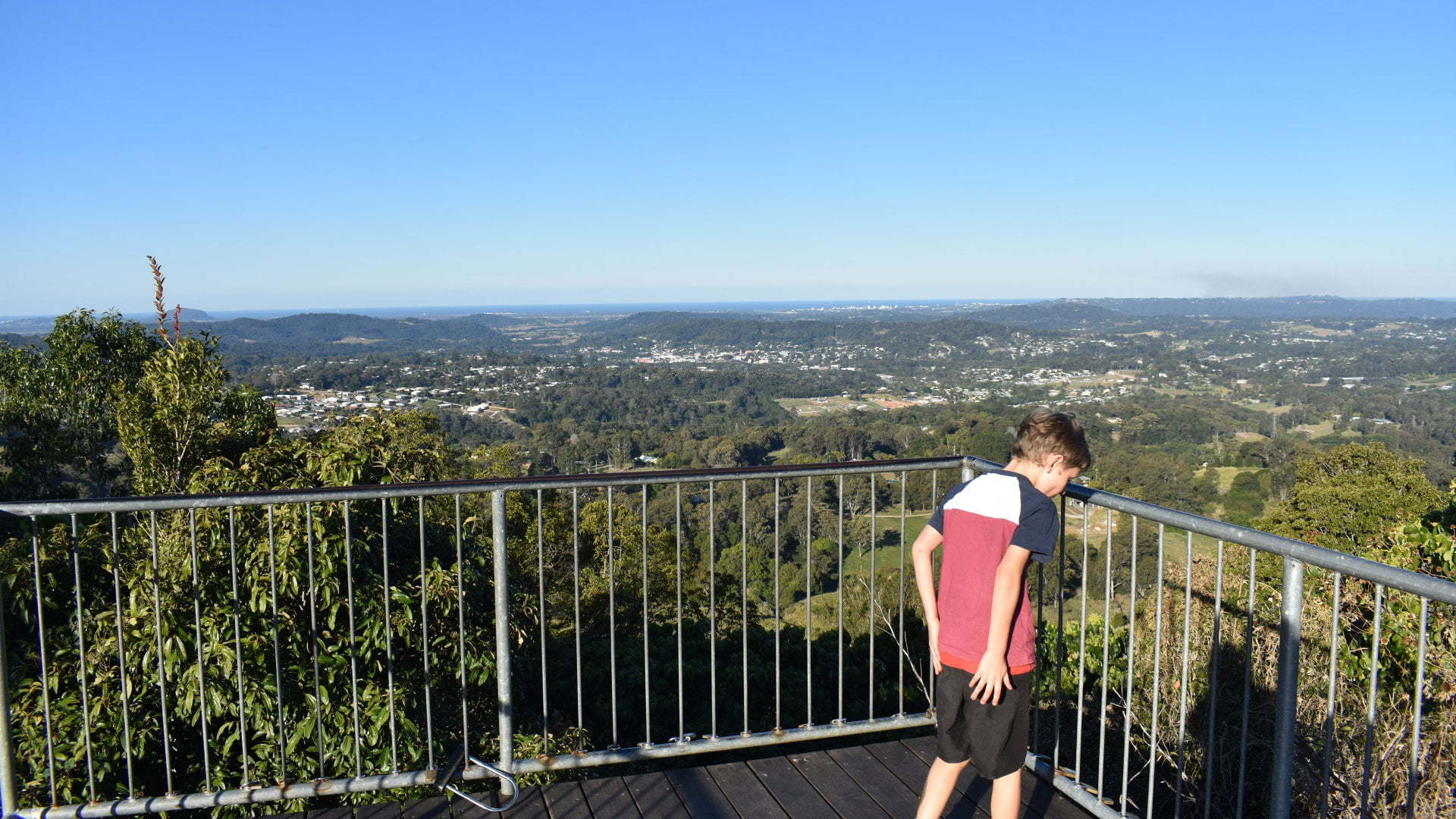 View from a lookout platform, at Dulong Lookout with views out to Sunshine Coast from behind Nambour