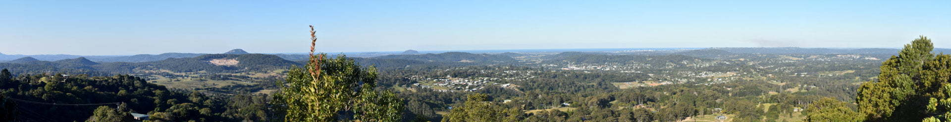 Panoramic view of the Sunshine Coast from Dulong Lookout