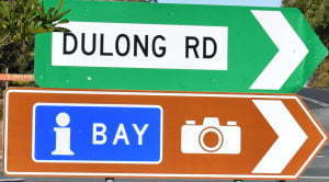 Brown sign with camera icon and a blue information symbol, green sign for Dulong Rd