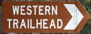 Brown sign for Western Trailhead