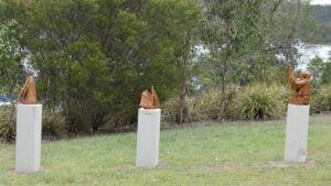 Good Times sculpture at Wyaralong Dam, by Radha Pedersen in 2015