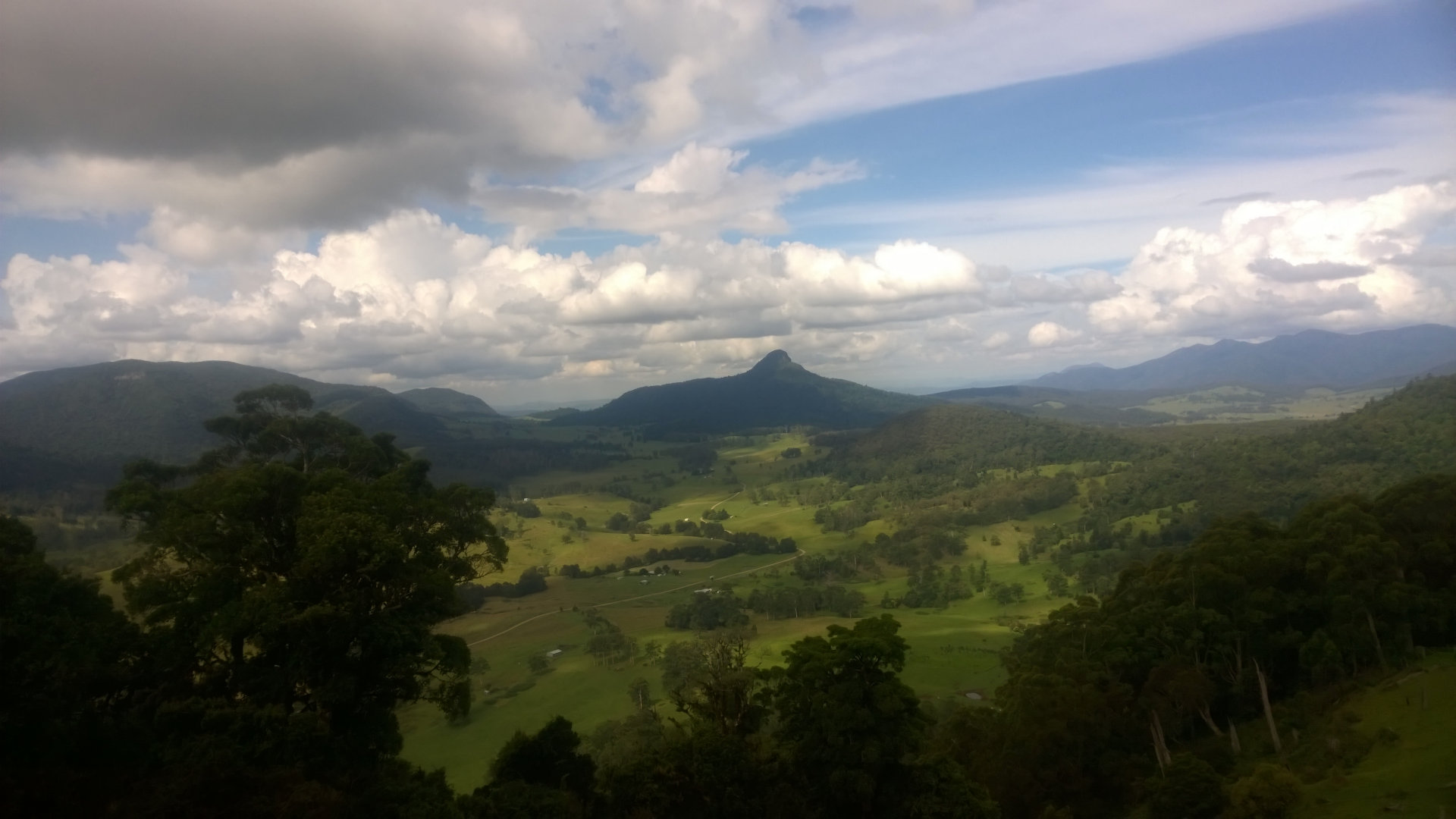View from Carr's Lookout across the head of the Condamine River, and mountains in the Scenic Rim region. The lookout is along The Falls Drive on Spring Creek Road.