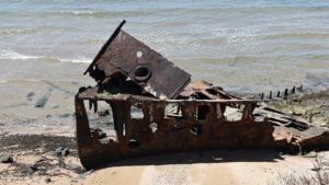 Rusted bow of a ship wreck, the Gayundah at Woody Point in Redcliffe