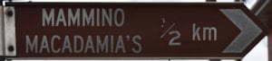 Brown sign for Mammino Macadamia's, 1/2 km