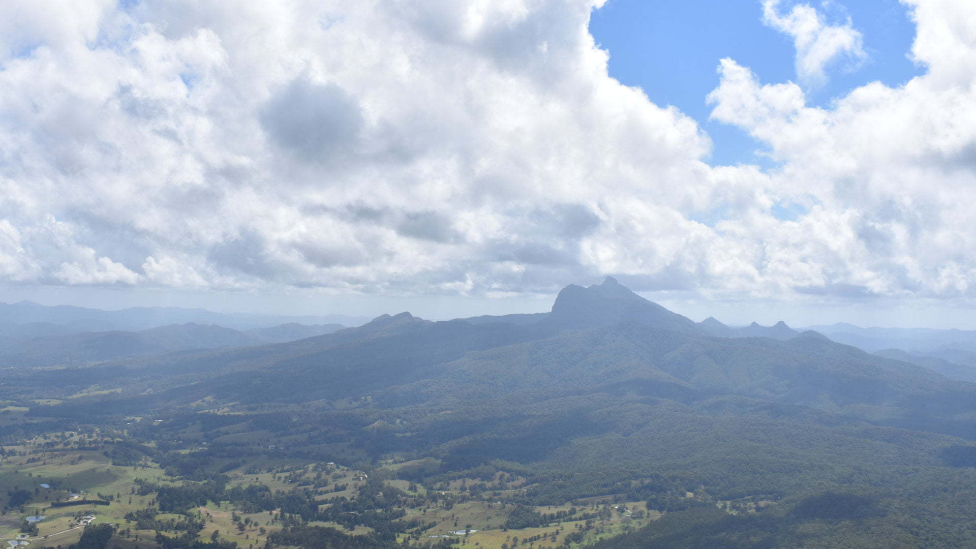 View of Mt Warning from Blackbutt Lookout at the Border Ranges National Park