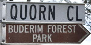 Brown sign for Buderim Forest Park, white sign for Quorn Cl