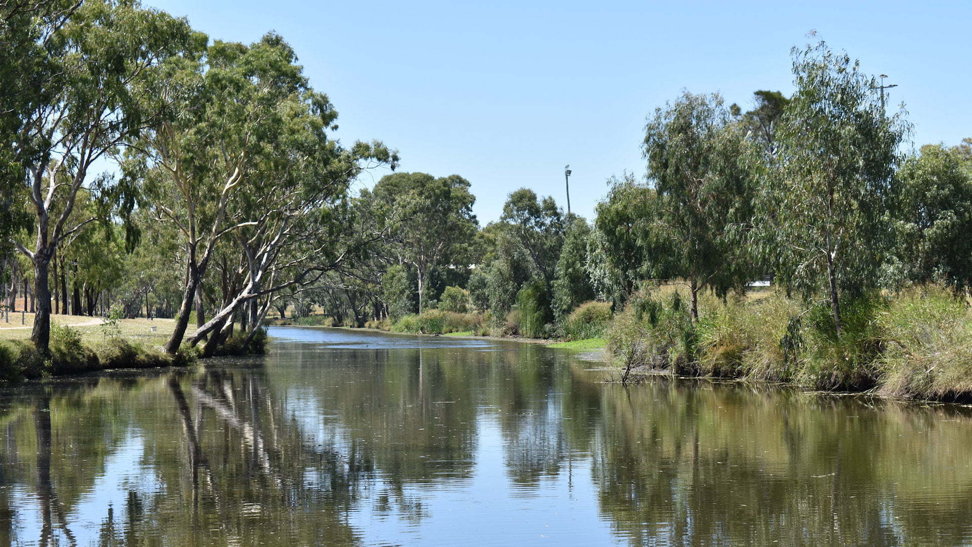 Condamine River in Warwick with the skyline reflecting on the water, the Condamine River is the start of the longest river system in Australia, the Murray Darling