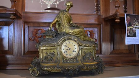 Miroy Freres clock made in the 1850s in France, this clock has been returned to the mantel in Glengallan Homestead