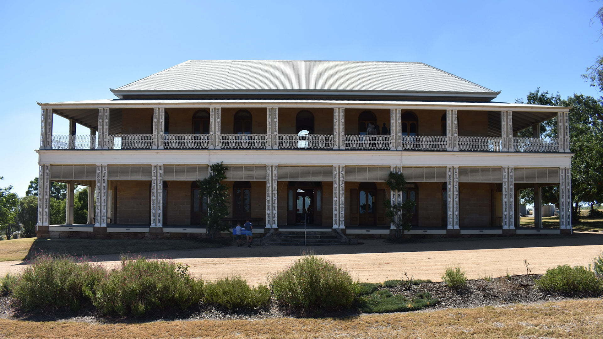 The front of Glengallen Homestead, a heritage listed homestead built in 1867 before being left to ruin then restoration beginning in 2002