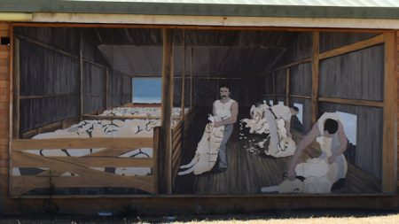 Mural of shearers in a sheep shearing shed, on the back of a toilet block at the Jackie Howe Park rest stop in Warwick