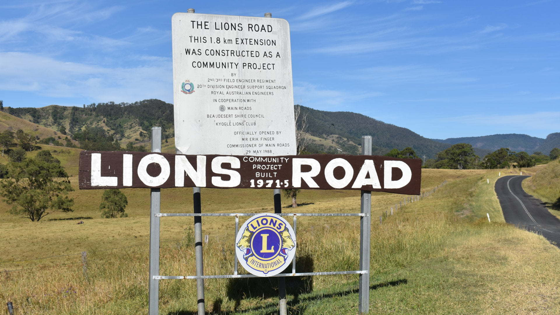 Lions Road at the Rathdowney end before crossing the border from Queensland to New South Wales
