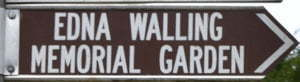 Brown sign for Edna Walling Memorial Garden