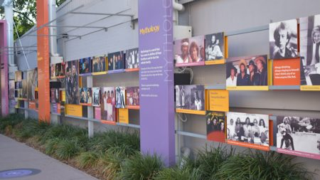 Wall of photos, part of the Bee Gees Way in Redcliffe