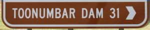Brown Sign for Toolumbar Dam, 31km