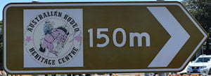 Brown sign for Australian Rodeo Heritage Centre, 150m