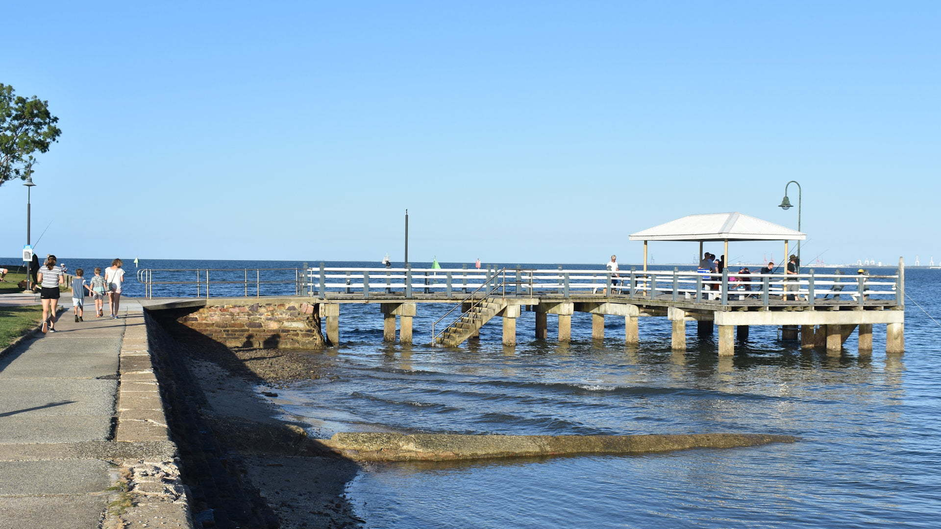 Jetty with fishermen, path along foreshore, taken at Baxters Jetty in Shorncliffe
