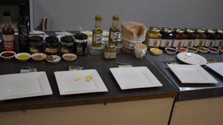 Taste testing of cheese, chutneys, vinegars at the Stanthorpe Cheese Factory