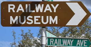 Brown sign for Railway Museum