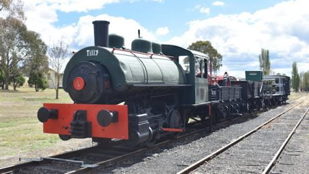 Steam locomotive named Tilly on display at Tenterfield Railway Museum