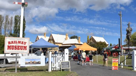 Entry to the Tenterfield Railway Museum with the bi-monthly markets operating