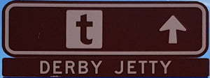 Brown sign for Derby Jetty
