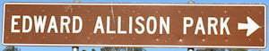 Brown sign for Edward Allison Park