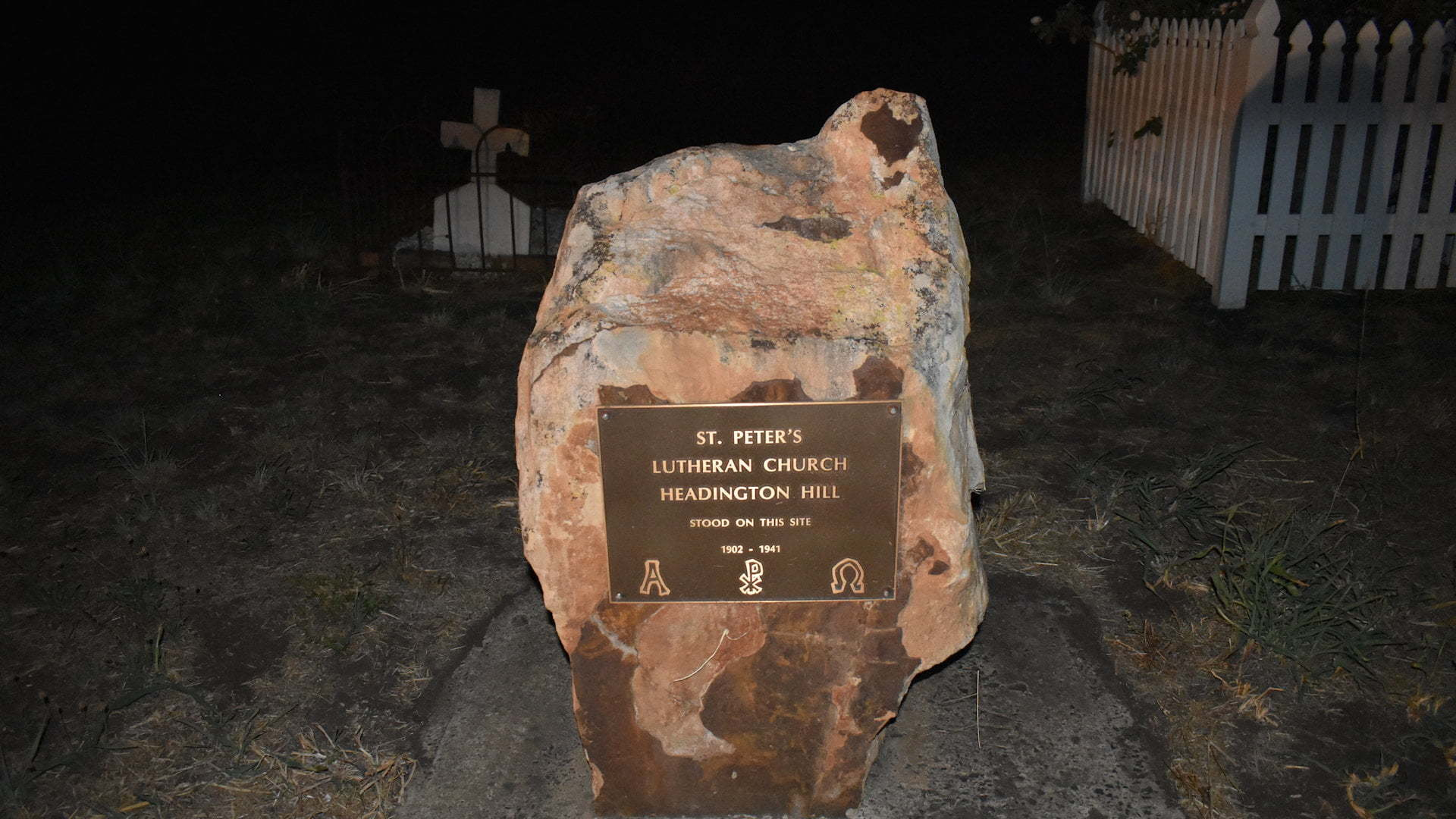 Monument for the historical site of the St Peter's Lutheran Church at Headington Hill
