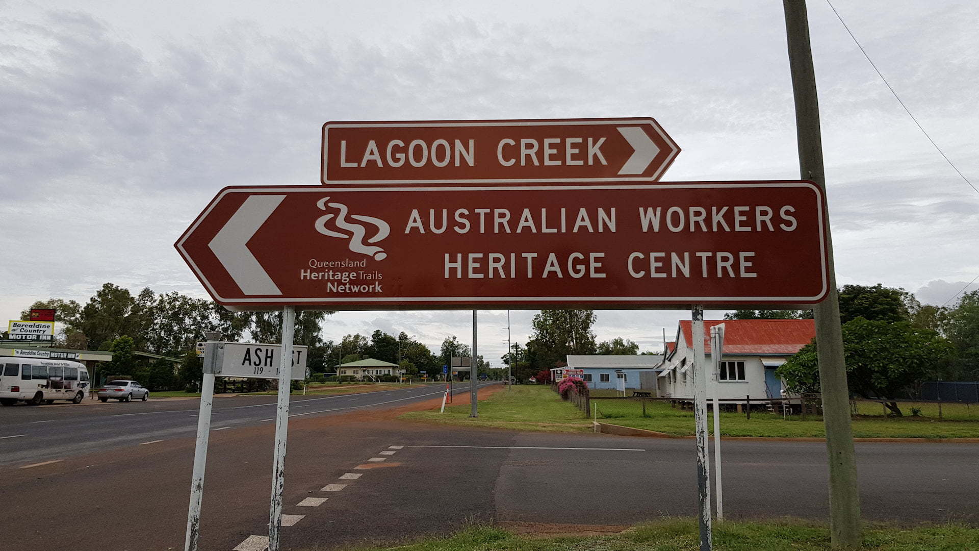 Sign for Lagoon Creek and the Australian Workers Heritage Centre