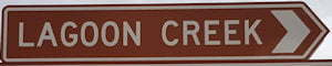 Brown sign for Lagoon Creek