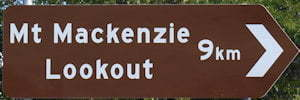 Brown sign from Mt Mackenzie Lookout, 9km