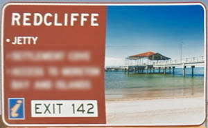 Brown sign for Redcliffe Jetty