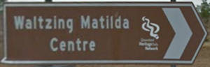 Brown sign for Waltzing Matilda Centre