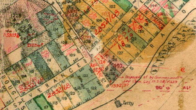 Map from the late 1800s showing Pearl Street in the Cossack township