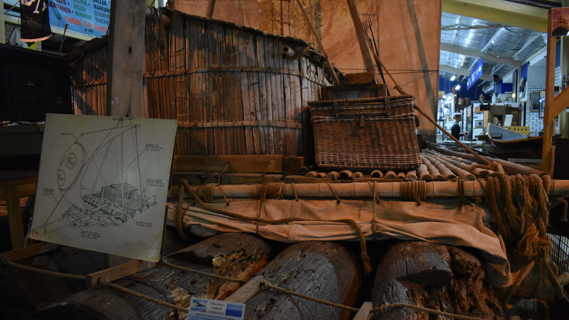 Raft used to sail from Ecuador to Ballina, at the Ballina Naval & Maritime Museum