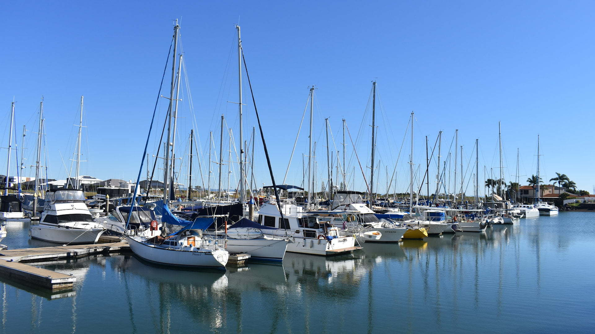 Sailing and power vessels at a marina, taken at Newport Marina