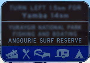 Brown sign for Angourie Surf Reserve