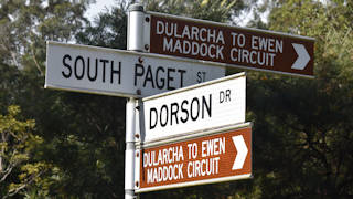 Brown signs showing the Dularcha to Ewen Maddock Circuit on the corner of Dorson Drive and South Paget Street