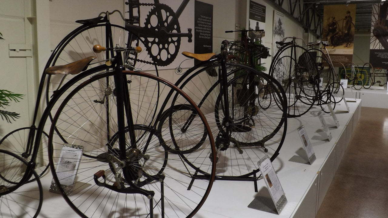 Penny farthing bikes from the Farren Collection at Shepparton Motor Museum