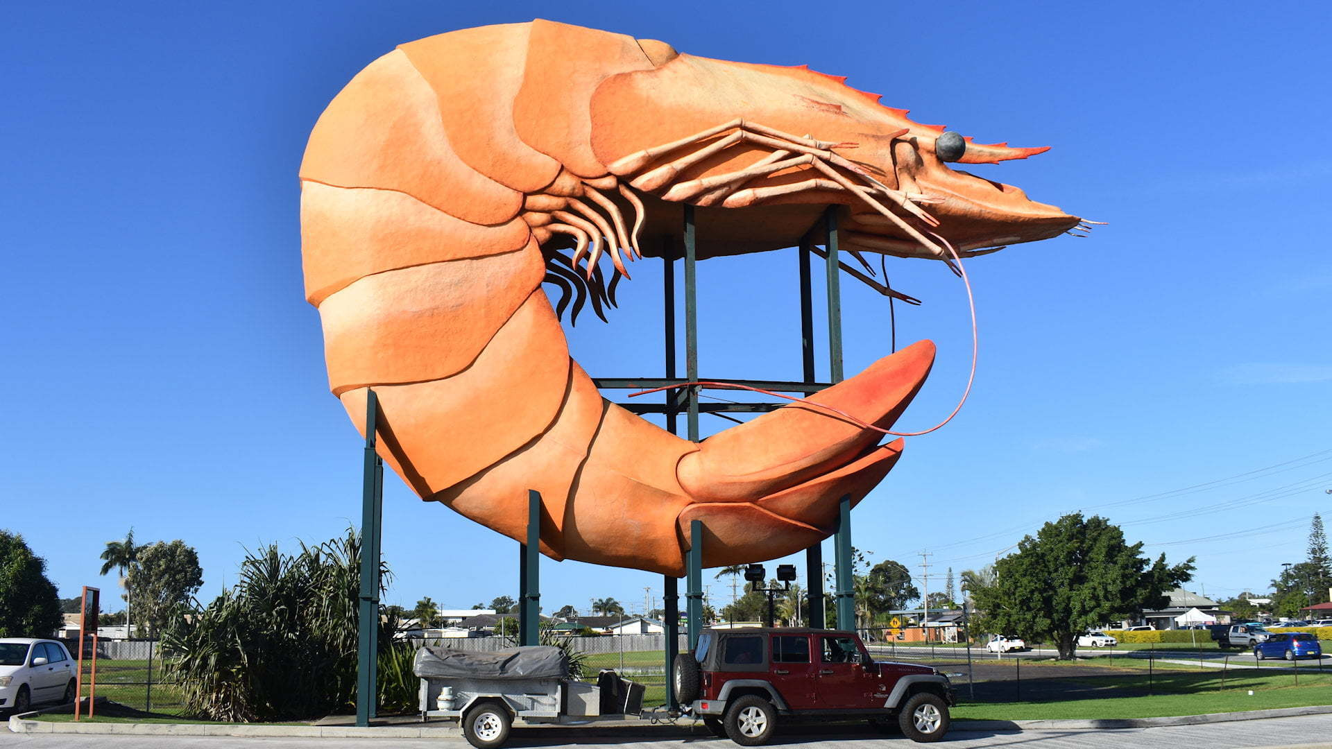 The Big Prawn, Jeep and camper underneath it, taken at Ballina NSW