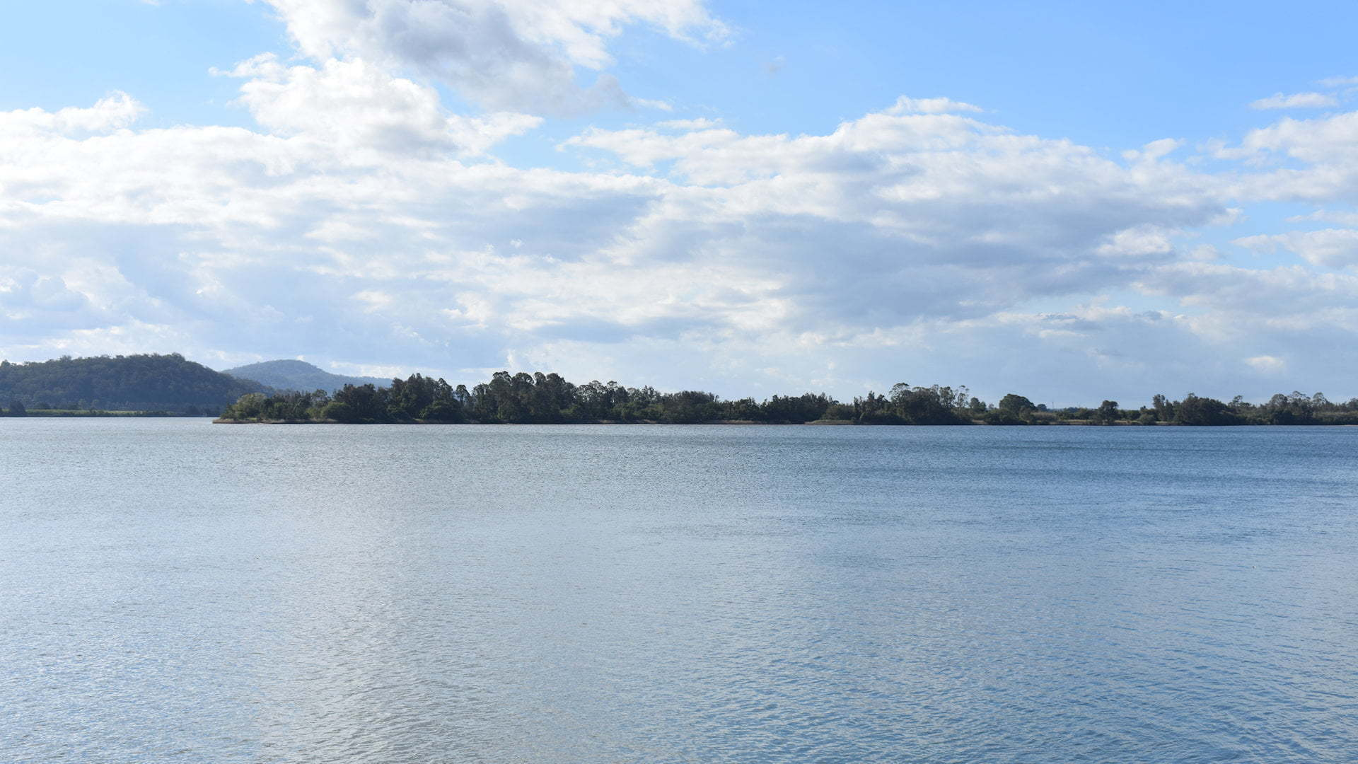 Ulugundahi Island, or Ulgundahi Island, viewed from the side of the Clarence River in Maclean