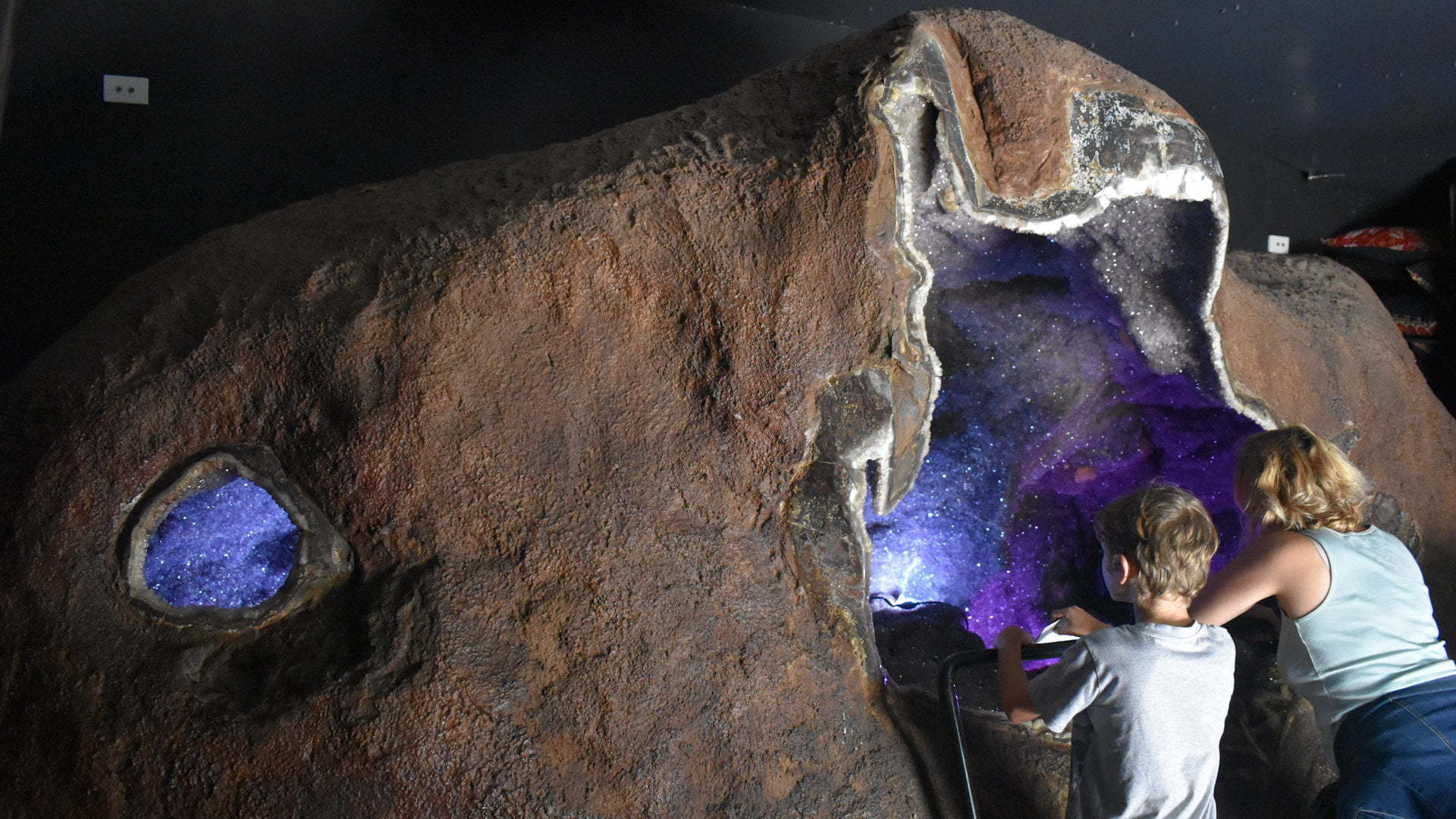 A massive amethyst geode called the Enchanted Cave at the Crystal Castle