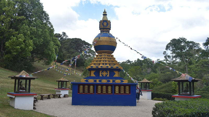 Kalachakra World Peace Stupa at the Crystal Castle near Mullumbimby in New South Wales, with a rare dome shaped top on the stupa, unique in the southern hemisphere