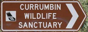 Brown sign for Currumbin Wildlife Sanctuary