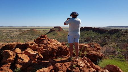 Lookout on the Dinosaur Canyon Walk at The Australian Age of Dinosaurs Museum in Winton