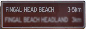 Brown sign for Fingal Head Beach